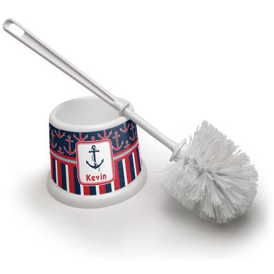 Nautical Anchors & Stripes Toilet Brush (Personalized)