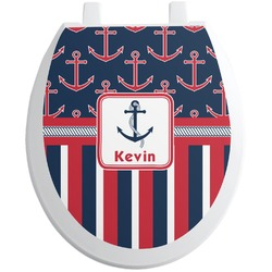 Nautical Anchors & Stripes Toilet Seat Decal - Round (Personalized)