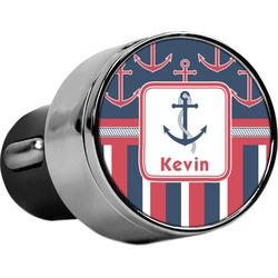 Nautical Anchors & Stripes USB Car Charger (Personalized)