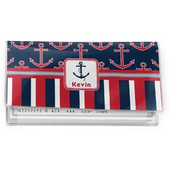 Nautical Anchors & Stripes Vinyl Check Book Cover (Personalized)