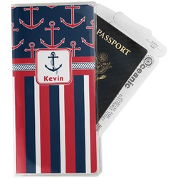 Nautical Anchors & Stripes Travel Document Holder