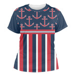 Nautical Anchors & Stripes Women's Crew T-Shirt (Personalized)
