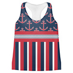 Nautical Anchors & Stripes Womens Racerback Tank Top (Personalized)