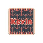 Nautical Anchors & Stripes Genuine Maple or Cherry Wood Sticker (Personalized)