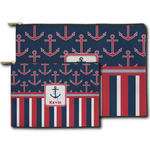 Nautical Anchors & Stripes Zipper Pouch (Personalized)