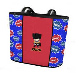 Superhero Bucket Tote w/ Genuine Leather Trim (Personalized)