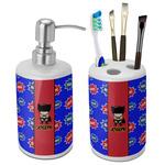 Superhero Ceramic Bathroom Accessories Set (Personalized)