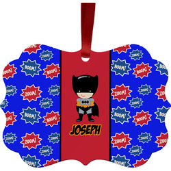 Superhero Metal Frame Ornament - Double Sided w/ Name or Text