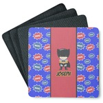Superhero 4 Square Coasters - Rubber Backed (Personalized)