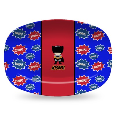 Superhero Plastic Platter - Microwave & Oven Safe Composite Polymer (Personalized)