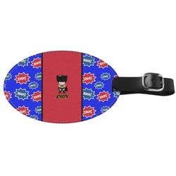 Superhero Genuine Leather Oval Luggage Tag (Personalized)