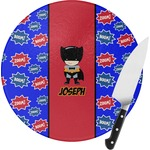 Superhero Round Glass Cutting Board (Personalized)