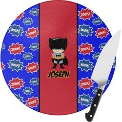 Superhero Round Glass Cutting Board (Personalized)