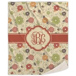 Fall Flowers Sherpa Throw Blanket (Personalized)