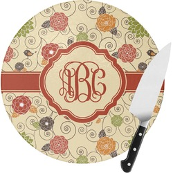 Fall Flowers Round Glass Cutting Board - Small (Personalized)
