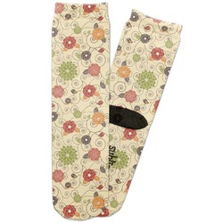 Fall Flowers Adult Crew Socks (Personalized)