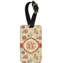 Fall Flowers Metal Luggage Tag w/ Monogram