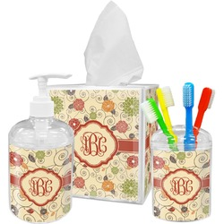 Fall Flowers Acrylic Bathroom Accessories Set w/ Monogram