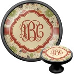 Fall Flowers Cabinet Knob (Black) (Personalized)