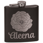 Fall Flowers Black Flask Set (Personalized)