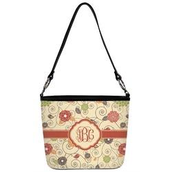 Fall Flowers Bucket Bag w/ Genuine Leather Trim (Personalized)