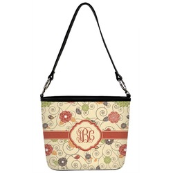 Fall Flowers Bucket Bag w/ Genuine Leather Trim (Personalized)