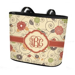 Fall Flowers Bucket Tote w/ Genuine Leather Trim (Personalized)