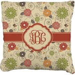 Fall Flowers Burlap Throw Pillow (Personalized)