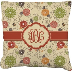 Fall Flowers Faux-Linen Throw Pillow (Personalized)