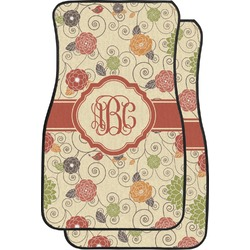 Fall Flowers Car Floor Mats (Front Seat) (Personalized)