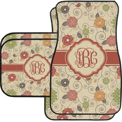 Fall Flowers Car Floor Mats Set - 2 Front & 2 Back (Personalized)