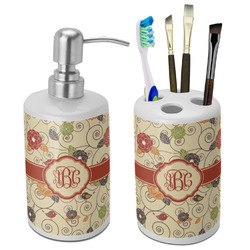 Fall Flowers Bathroom Accessories Set (Ceramic) (Personalized)
