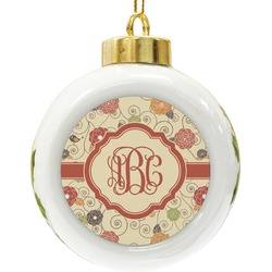 Fall Flowers Ceramic Ball Ornament (Personalized)