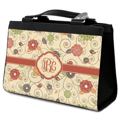 Fall Flowers Classic Tote Purse w/ Leather Trim (Personalized)