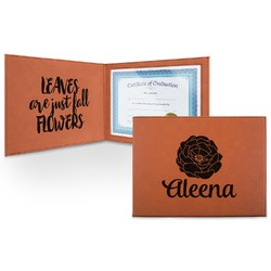 Fall Flowers Leatherette Certificate Holder (Personalized)