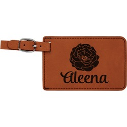 Fall Flowers Leatherette Luggage Tag (Personalized)