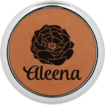 Fall Flowers Leatherette Round Coaster w/ Silver Edge - Single or Set (Personalized)