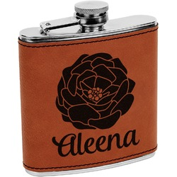 Fall Flowers Leatherette Wrapped Stainless Steel Flask (Personalized)