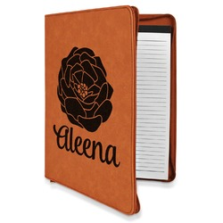 Fall Flowers Leatherette Zipper Portfolio with Notepad (Personalized)