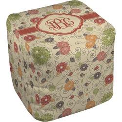 Fall Flowers Cube Pouf Ottoman (Personalized)