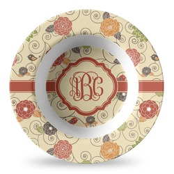 Fall Flowers Plastic Bowl - Microwave Safe - Composite Polymer (Personalized)
