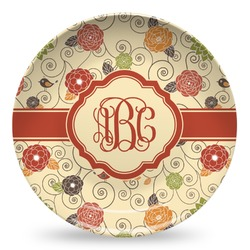 Fall Flowers Microwave Safe Plastic Plate - Composite Polymer (Personalized)