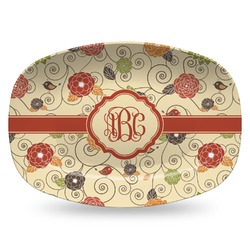 Fall Flowers Plastic Platter - Microwave & Oven Safe Composite Polymer (Personalized)