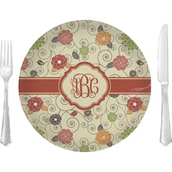 Fall Flowers Glass Lunch / Dinner Plates 10