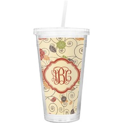 Fall Flowers Double Wall Tumbler with Straw (Personalized)