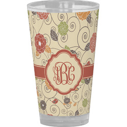 Fall Flowers Drinking / Pint Glass (Personalized)