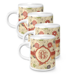 Fall Flowers Espresso Mugs - Set of 4 (Personalized)