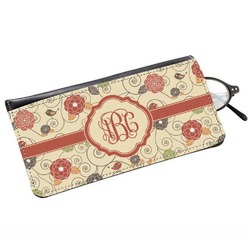 Fall Flowers Genuine Leather Eyeglass Case (Personalized)
