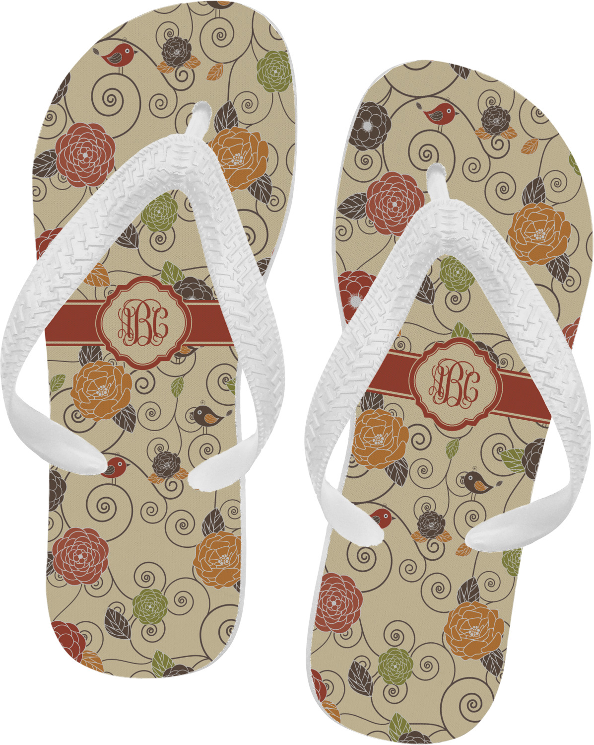 fall flowers flip flops small personalized youcustomizeit. Black Bedroom Furniture Sets. Home Design Ideas