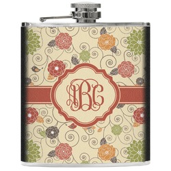 Fall Flowers Genuine Leather Flask (Personalized)